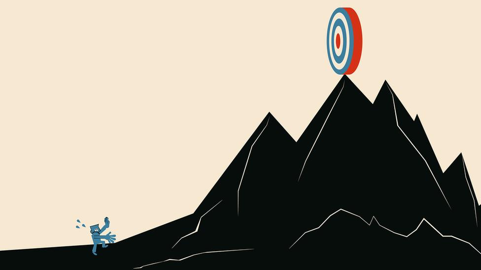 رسم توضيحي يظهر أحدهم عند سفح تل كبير والهدف في أعلى القمة