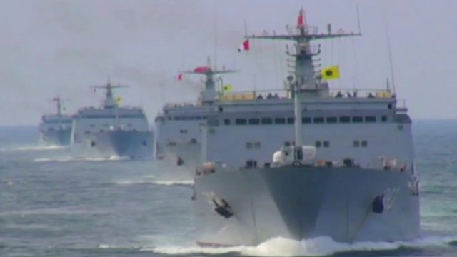 Chinese ships sail in the South China Sea