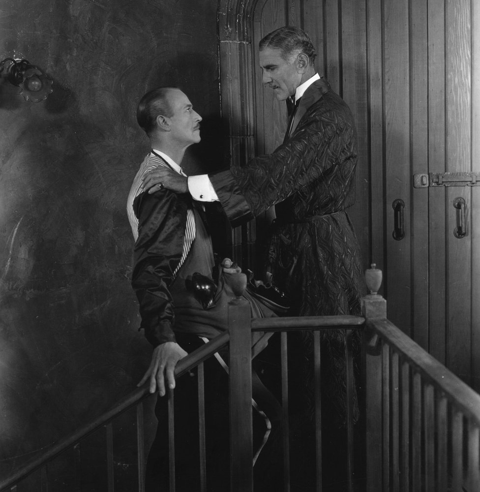 Actors H S Warner (L) and Norman Trevor (R) play father and son in the film Sorrell and Son, which was filmed in both Hollywood and England