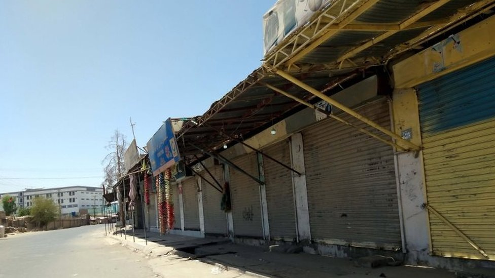 A view of a market that was closed over security fears as Taliban attacked parts of the city in Lashkar Gah, the provincial capital of Helmand, Afghanistan, 02 August 2021.