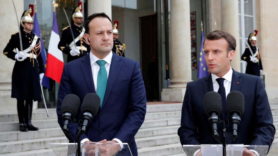 Irish Prime Minister Leo Varadkar pictured in Paris with French President Emmanuel Macron