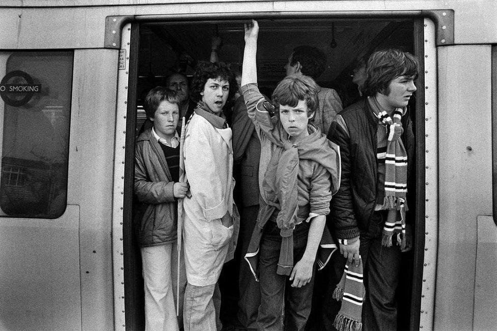 Football fans, Wembley Park, 1979