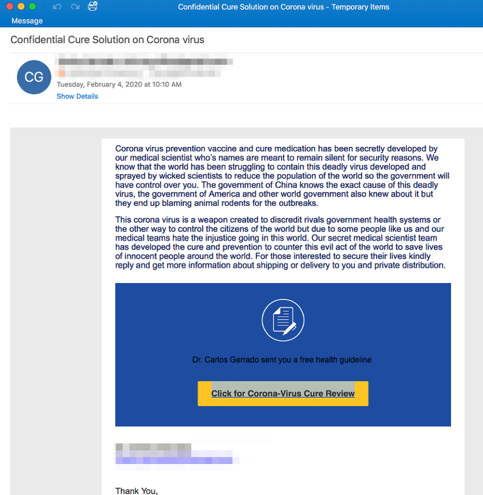 Email scam screenshot
