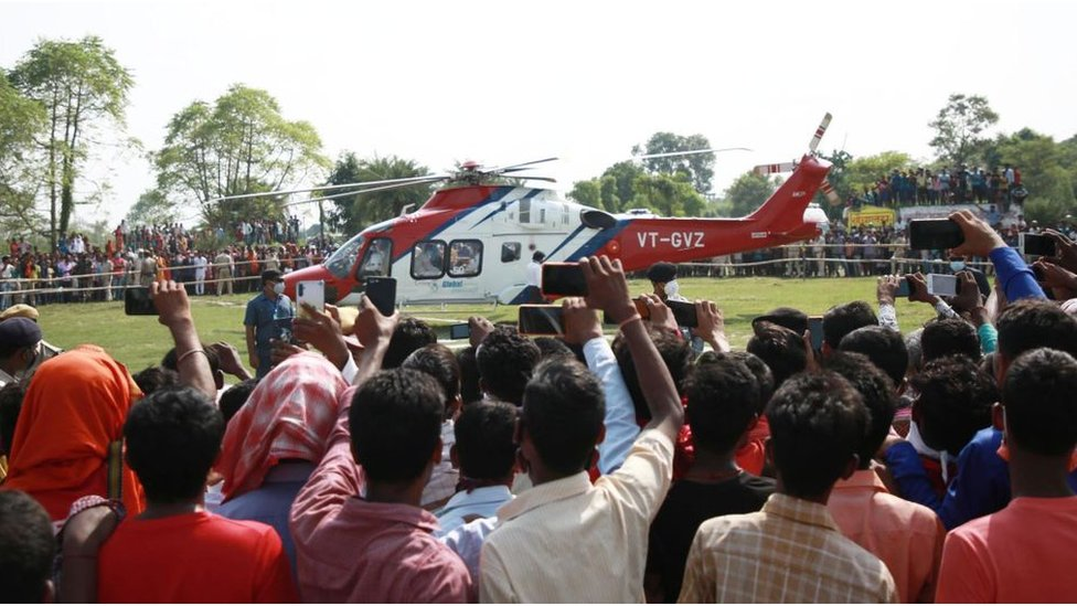 Bihar Chief Minister Nitish Kumar leaves by a helicopter after addressing an election campaign rally ahead of Bihar Assembly election on October 22, 2020 in Muzaffarpur, India.
