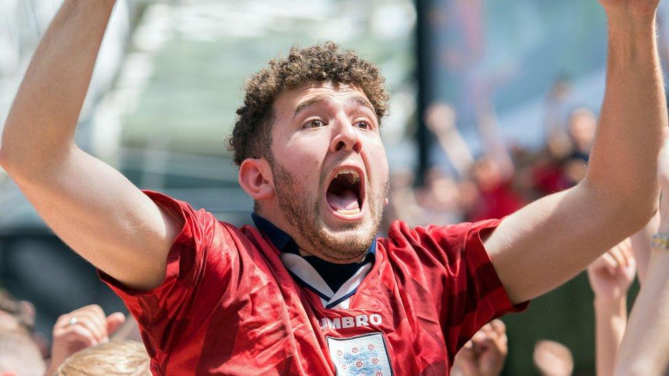 Jubilant England fans cheer record win