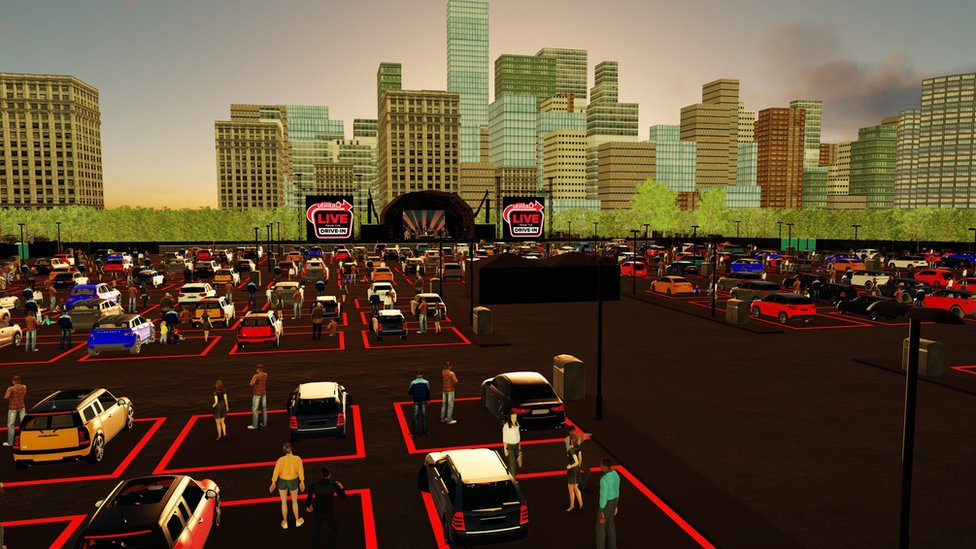 An artist's impression of what the drive-in gigs will look like