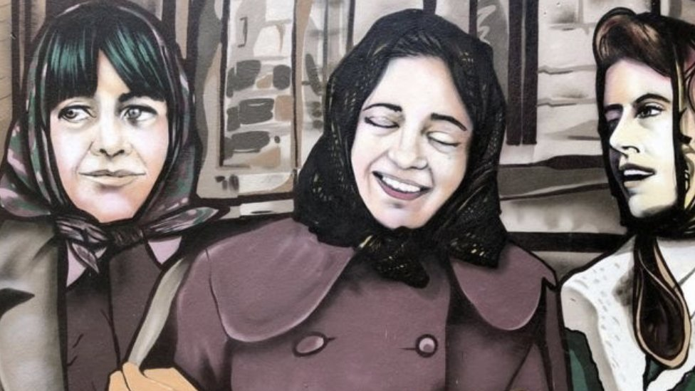 A mural celebrating the legacy of Londonderry's factory girls