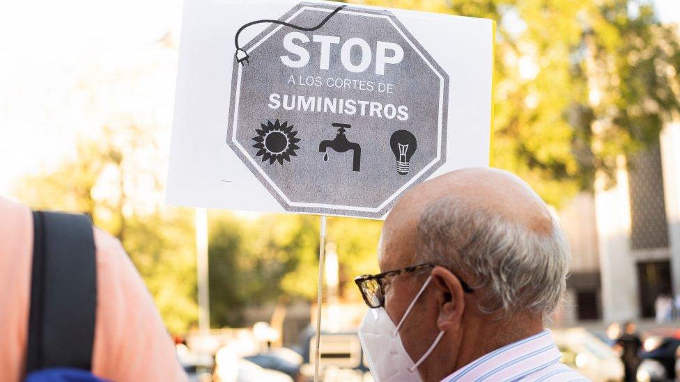 Protestas en Madrid contra la subida de precios de la electricidad.