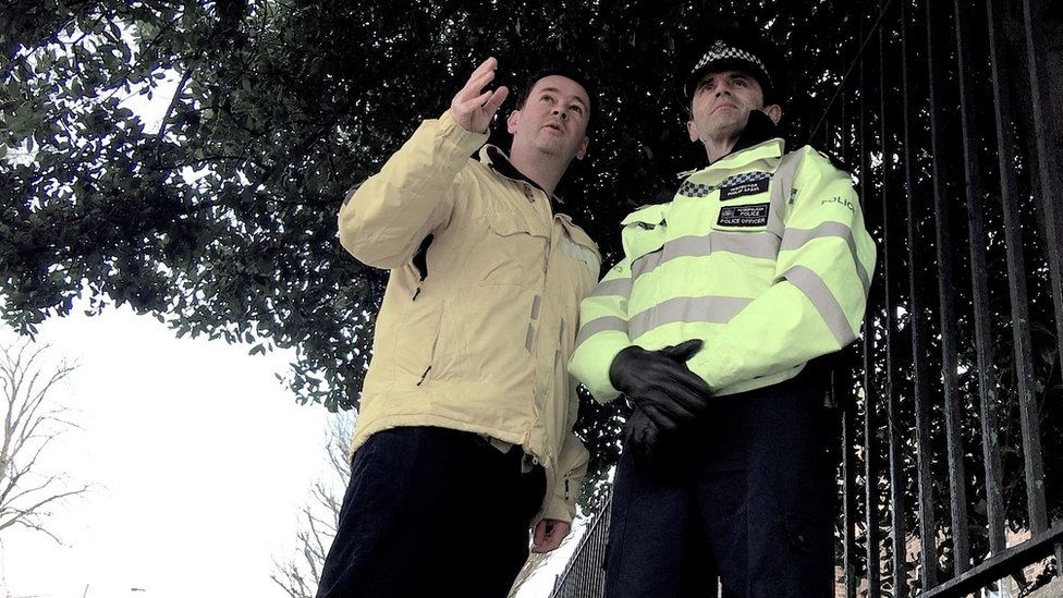 World Hacks reporter Dougal Shaw with Inspector Philip Spaul