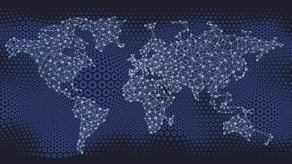 Mapa de las comunicaciones globales.