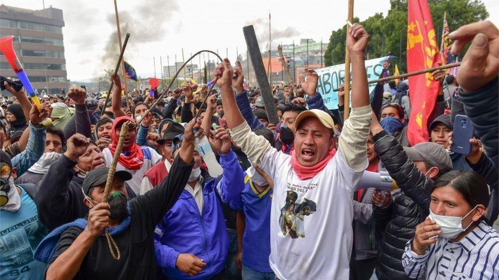 Manifestantes en Quito