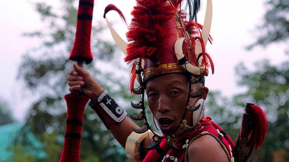 A member of one of the Naga tribes during an inter-tribal festival in India, 2015