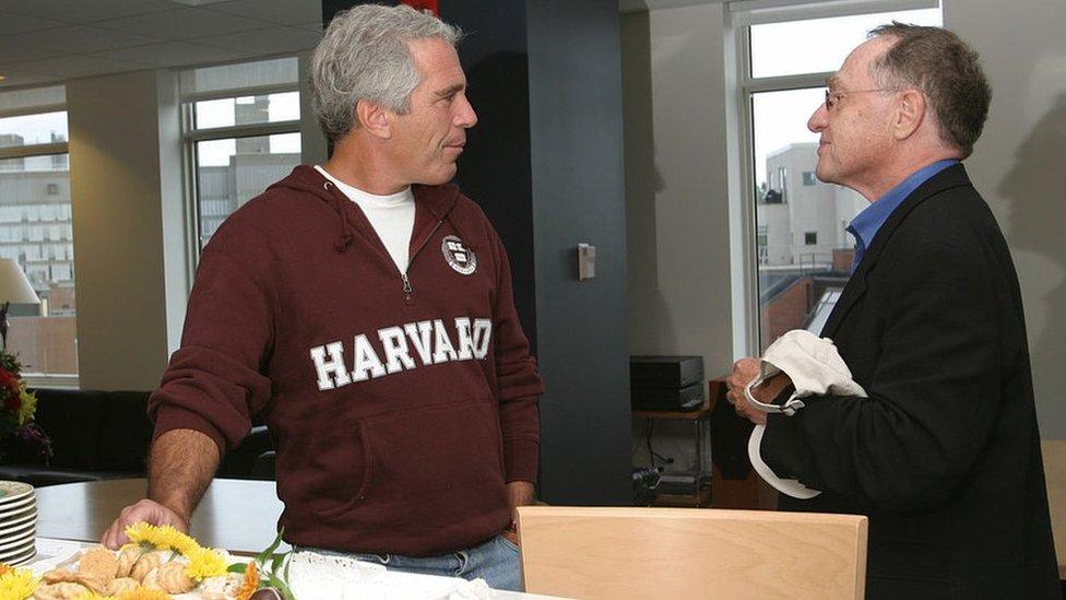 Jeffrey Epstein, left; Alan Dershowitz, right