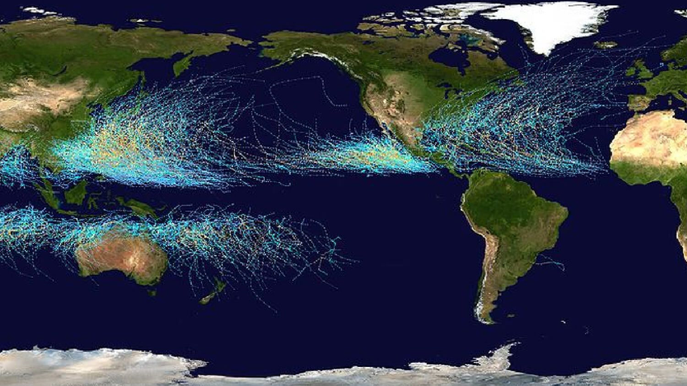 A simulation of all hurricanes between 1985 and 2015