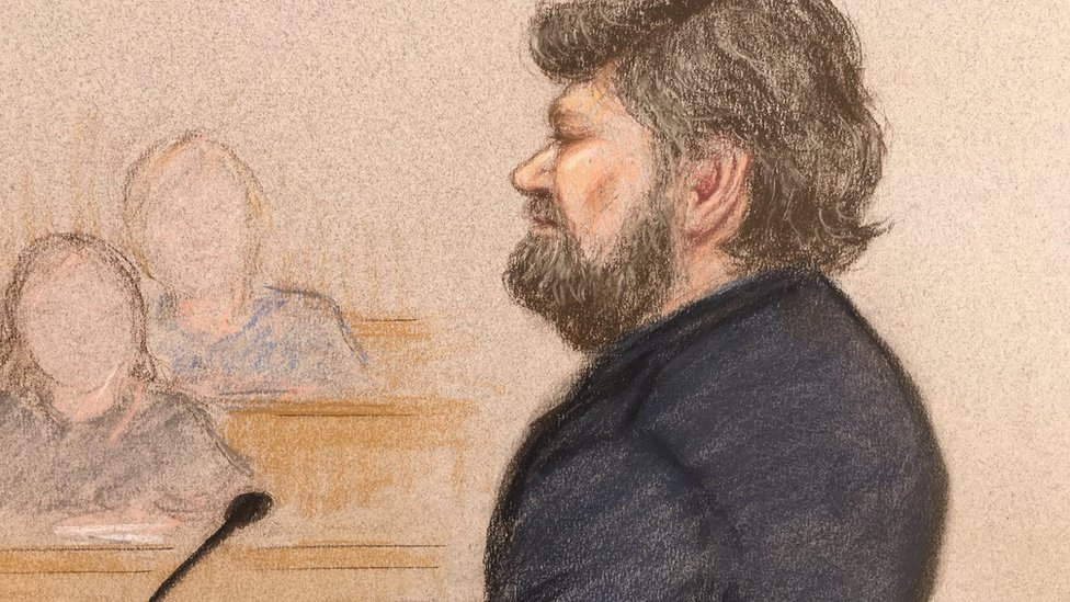 Courtroom sketch of Carl Beech giving evidence
