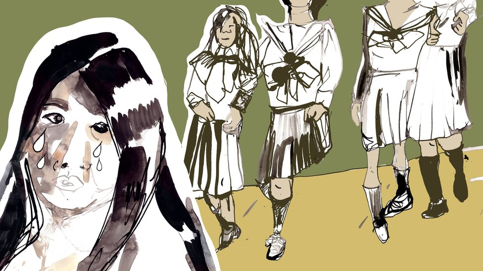 Ilustración de Megumi llorando por algo que le dicen sus compañeras