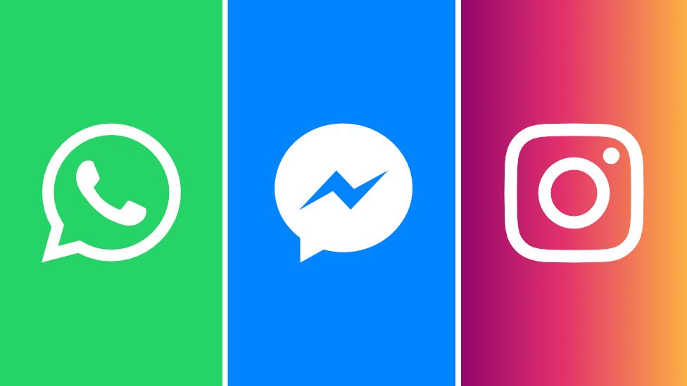 Logos de WhatsApp, Messenger and Instagram