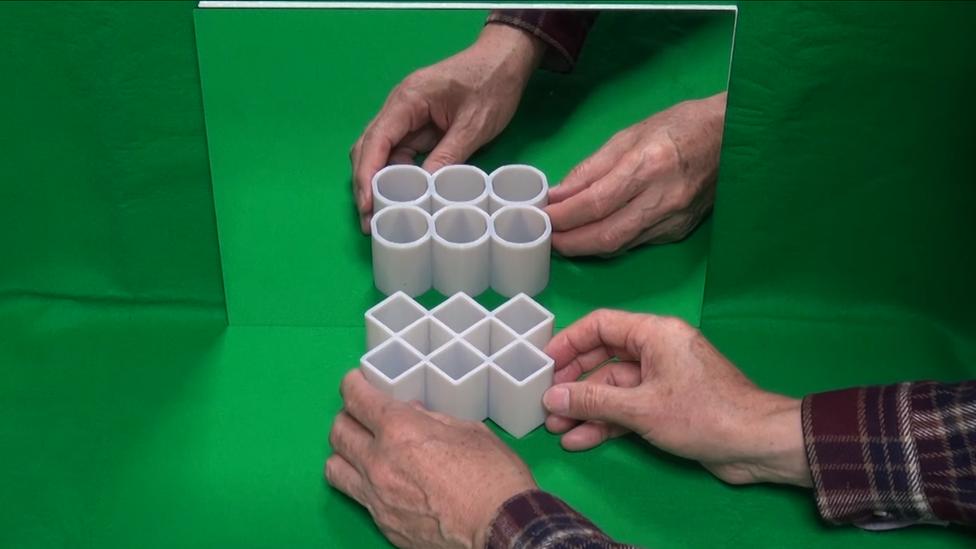 """Ilusión de los cilindros ambiguos: """"círculos y rectángulos"""". Finalista del premio a la Mejor ilusión del año 2016."""