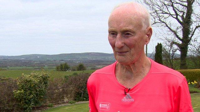 Runner Ken Jones, 82, before his 36th London Marathon
