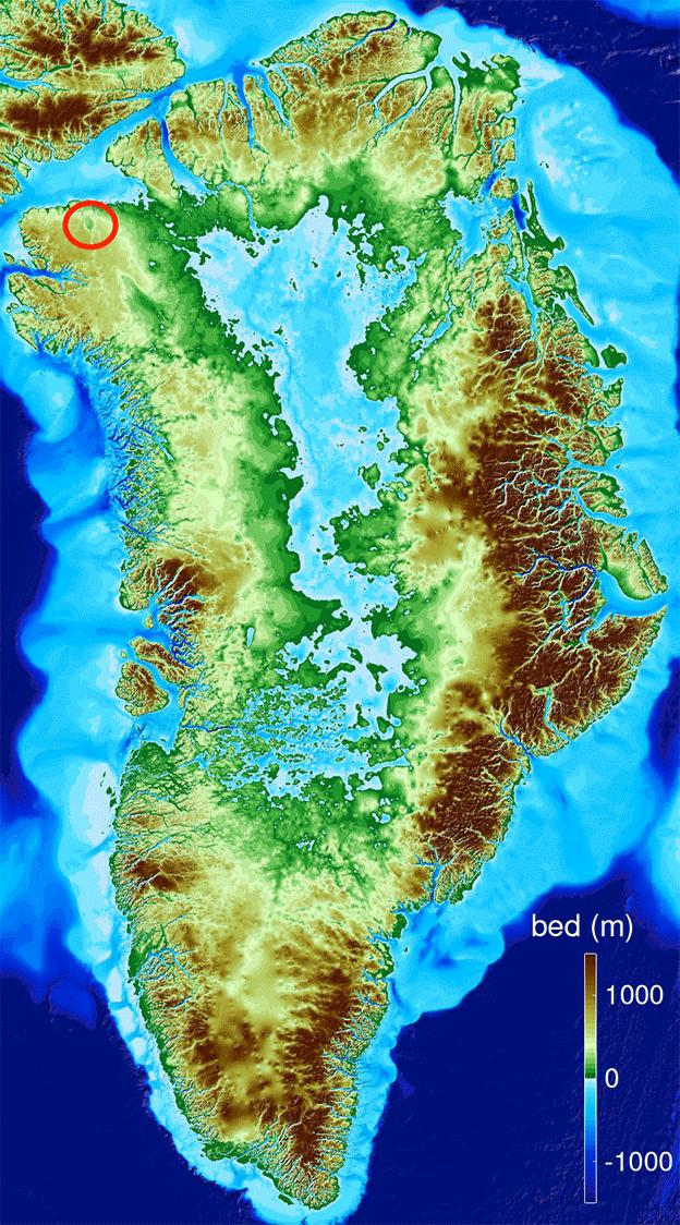 Localización del cráter.