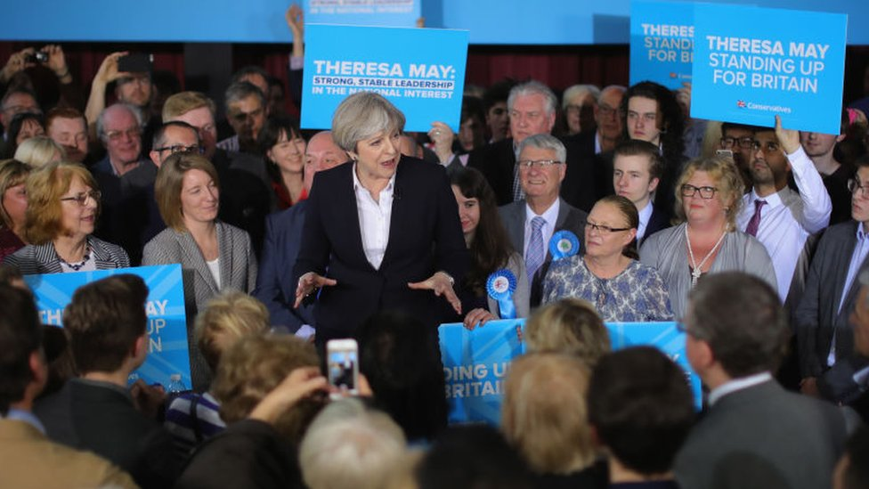 Former Prime Minister Theresa May at an election campaign rally in 2017