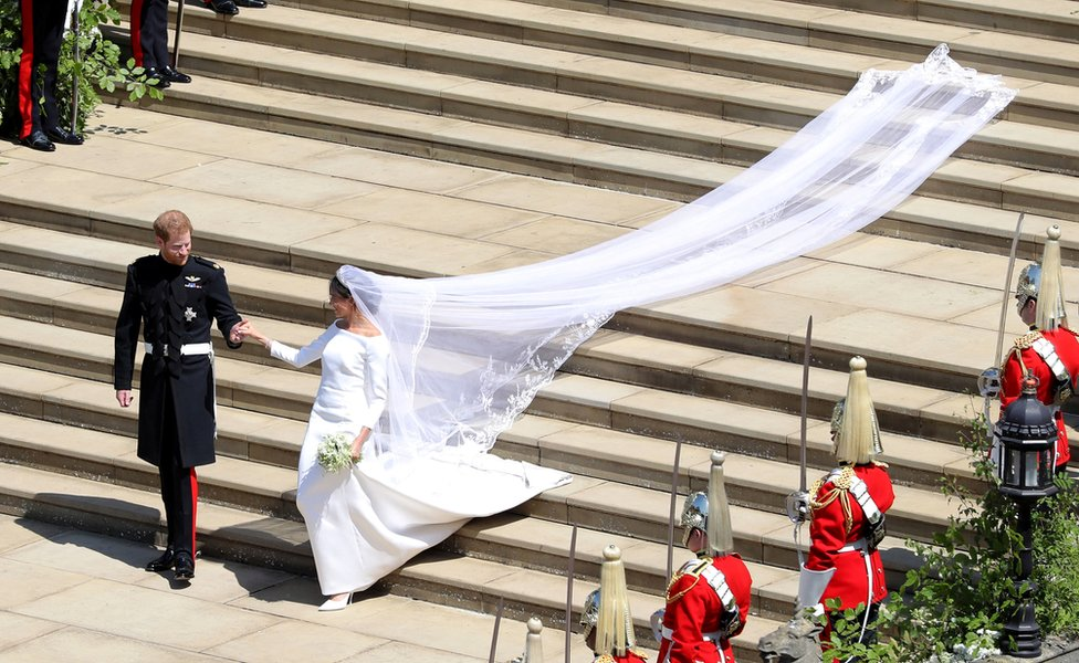 """Prince Harry and Meghan Markle leave St George""""s Chapel in Windsor Castle after their wedding"""