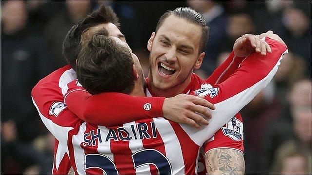 Stoke's Marko Arnautovic celebrates
