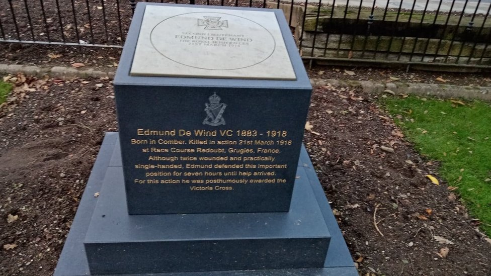Edmund De Wind's memorial in his home town of Comber