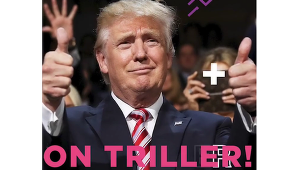 Screengrab from Trump Triller video