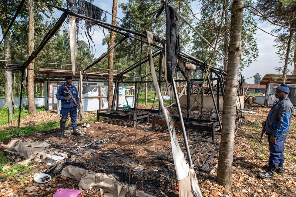 A treatment centre burned in Katwa, near Butembo
