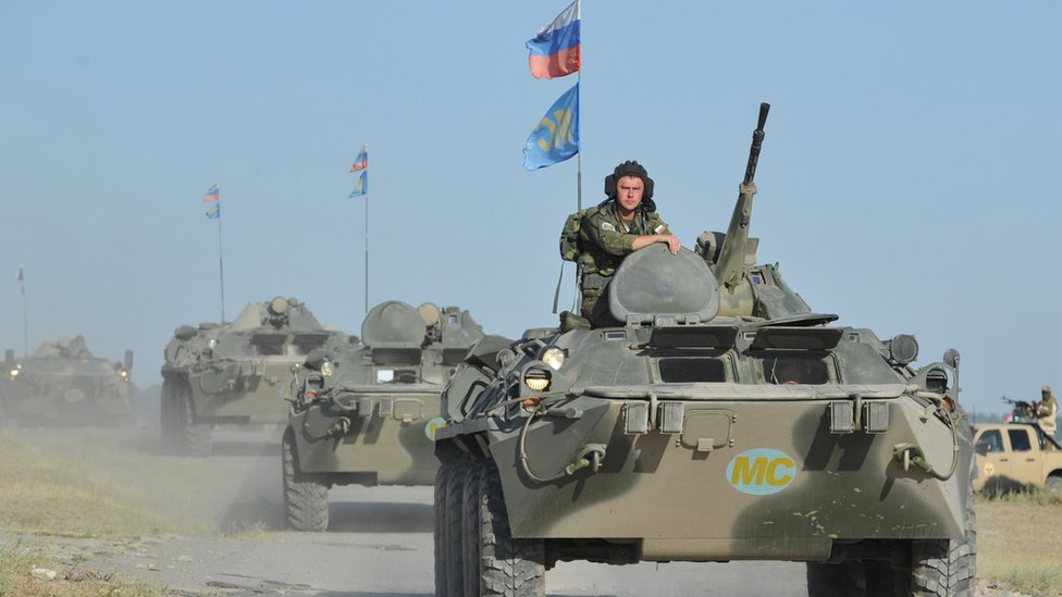 Russian soldiers of Rapid Deployment Forces of the Central Asian nations take part on August 1, 2014 in joint military exercise at the Ala-Too training ground, some 20 km outside Bishkek, the capital of Kyrgyzstan.