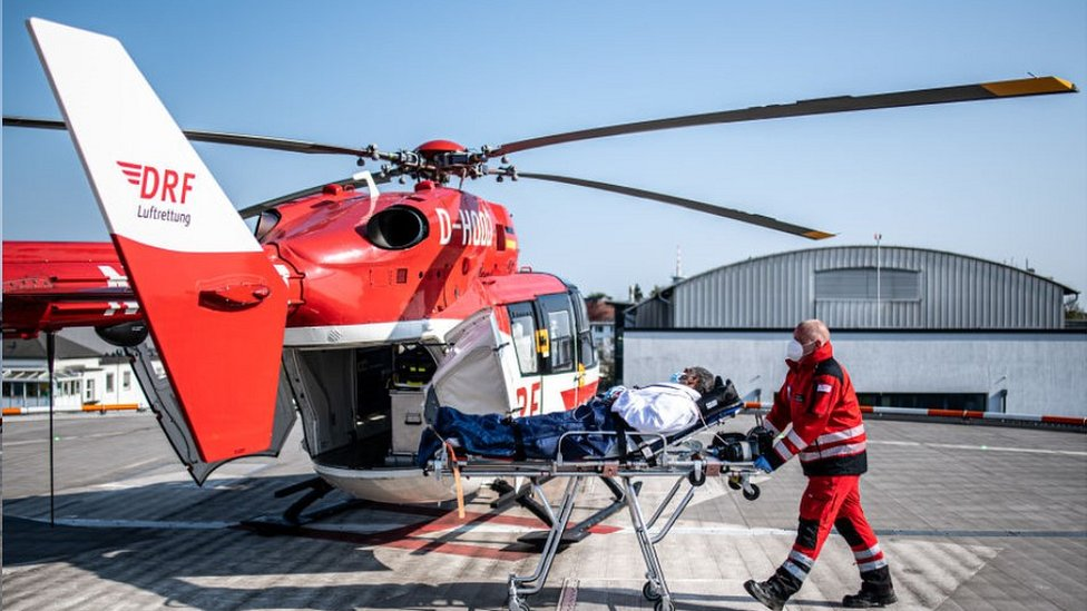 A French patient airlifted to Essen, Germany, 17 Apr 2020