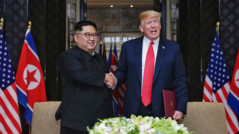 Kim Jong-un and Donald Trump shakes hands in Singapore