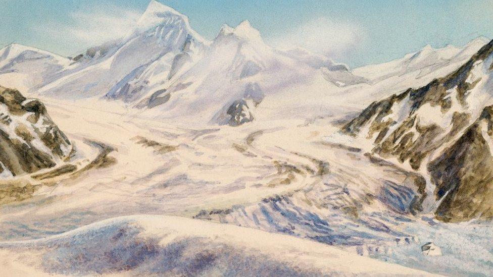 Glaciar Aletsch durante la era de hielo.