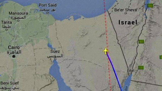 Graphic of plane's flight path