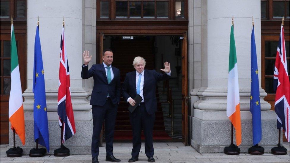 Leo Varadkar and Boris Johnson met outside Government Buildings in Dublin
