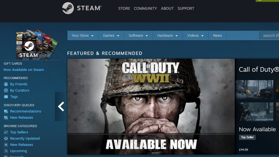 Steam home page