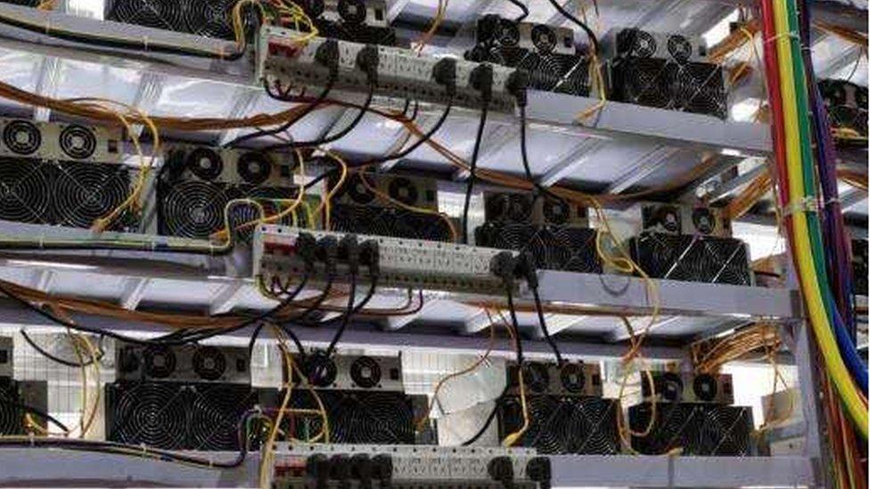 Racks of computer equipment