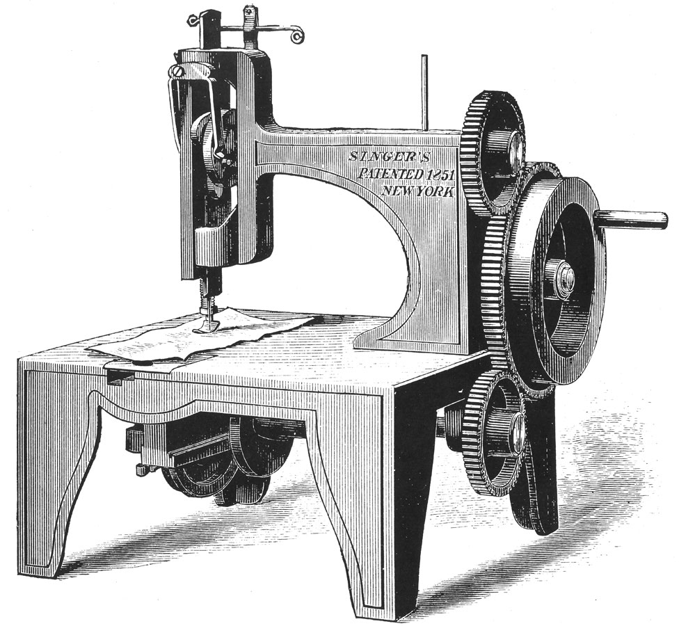 Isaac Merrit Singer's first sewing machine, patented in 1851