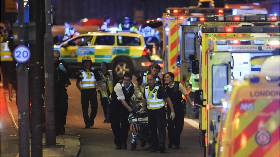 Police and medical staff at the London Bridge attack
