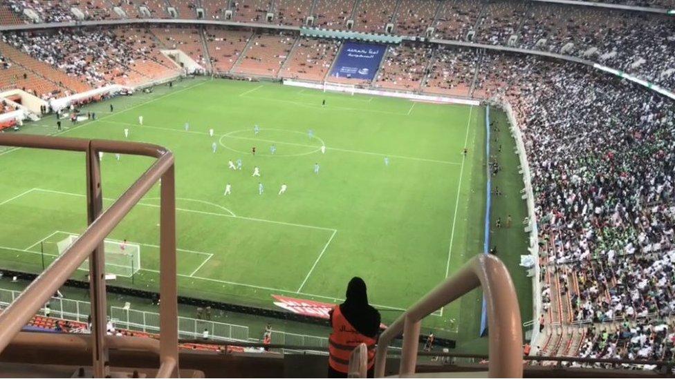 Sarah Algashgari in the King Abdullah Sports City, Jeddah on Friday at her first football match