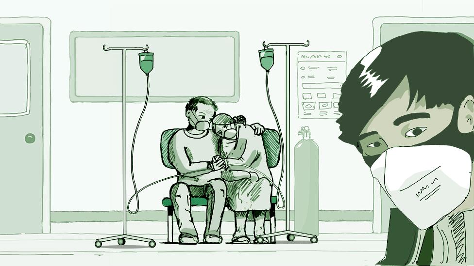 Ilustración de un hospital en Wuhan