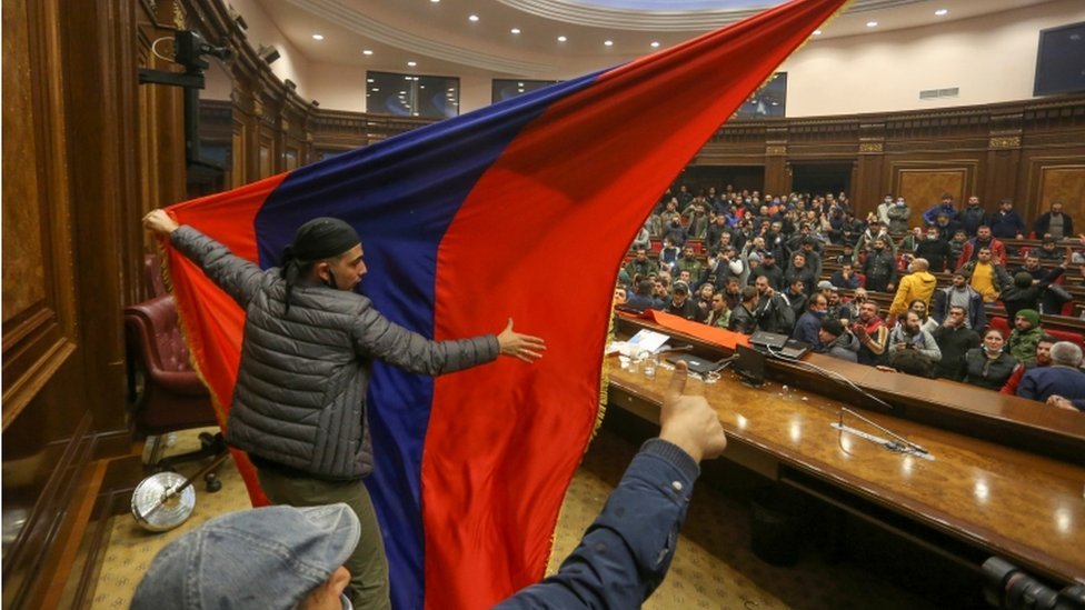 Protesters storm parliament in Armenia