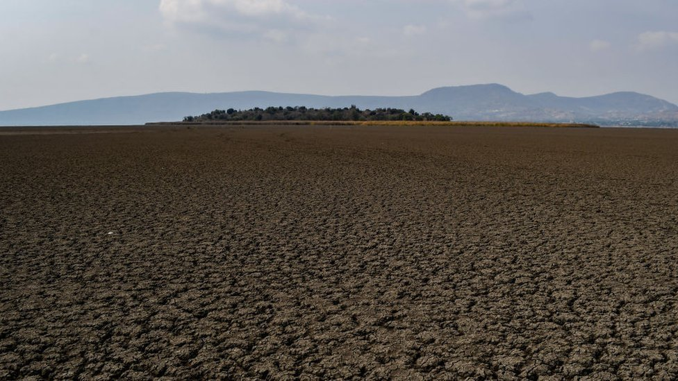Lago Cuitzeo en Michoacán, en 9 de mayo del 2021