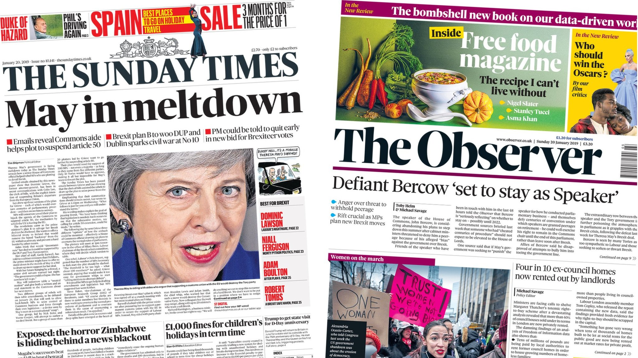 The Papers: 'May in meltdown' and Bercow 'may stay as speaker'