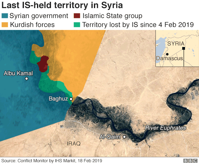 Map showing last IS-held territory in Syria (18 February 2019)