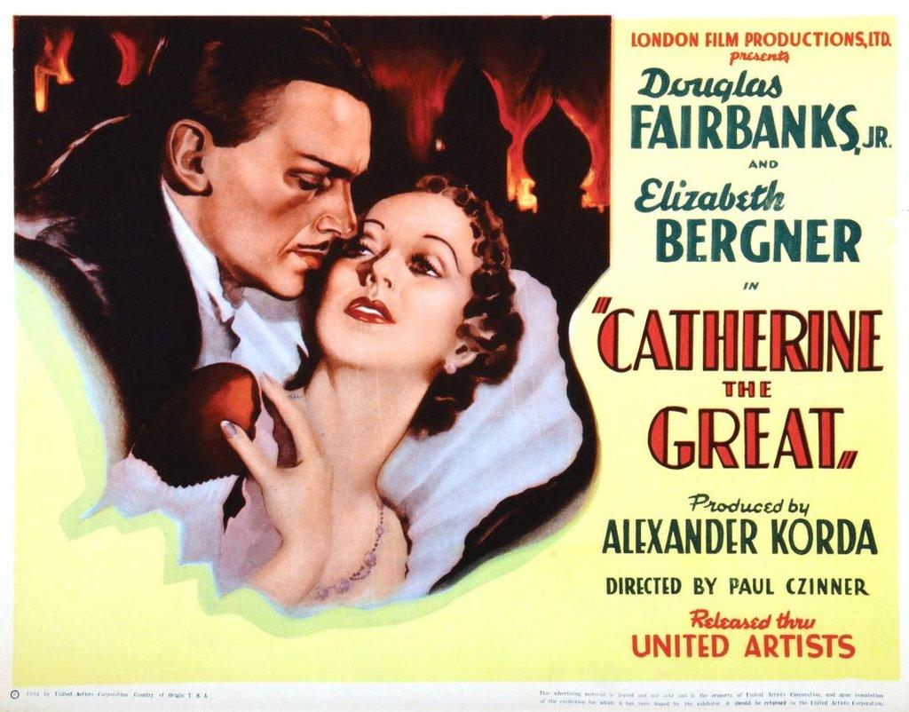 """Publicidad de la película Catalina """"La Grande"""" con Douglas Fairbanks Jr, y Elisabeth Bergner, 1934."""