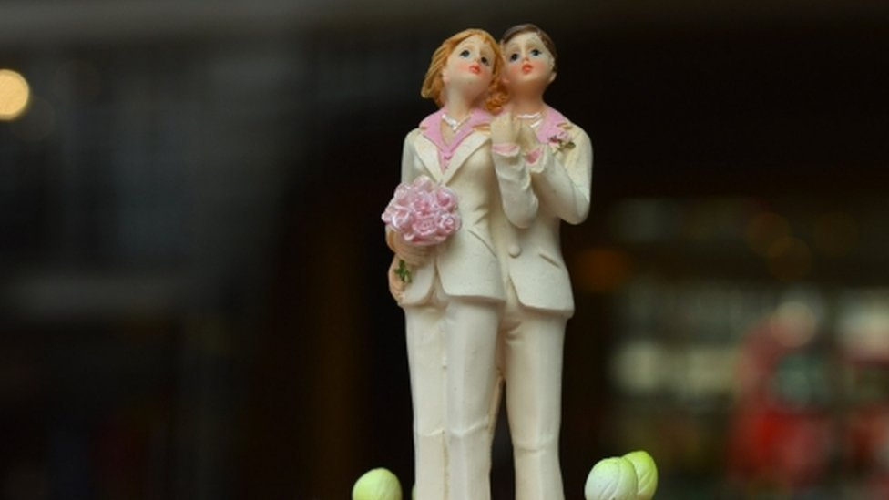 Wedding cake figures two women in same-sex marriage