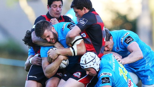 Action from Edinburgh against Ulster in a pre-season friendly