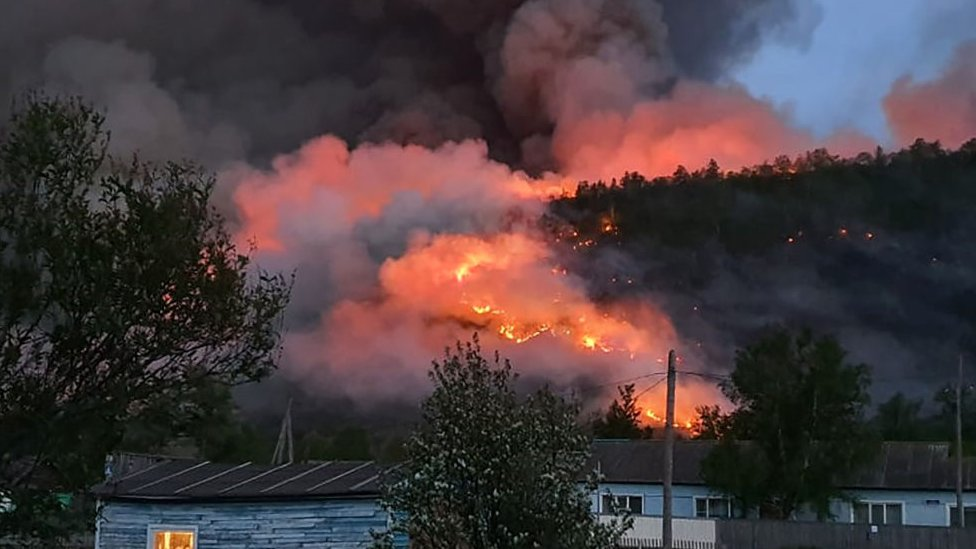 Fire has destroyed areas in the Kamchatka Territory in the far east of Russia